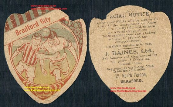 1912 Bradford City F.C. Baines Ltd card